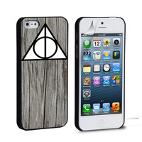 Black Wood Deathly Hallow iPhone 4 5 6 Galaxy S3 4 5  Case