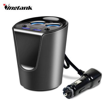 Vingtank Cigarette Lighter Socket Car Cup Holder Type 3.1A Dual USB Car Charger Adapter Smart Fast Charge For Sumsung Iphone