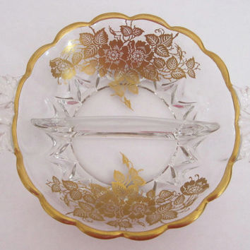 FREE SHIPPING. Vintage 1940's Silver City Glass Company Crystal Bowl / Dish.  22K Gold Overlay Design, Gold Queen Rose Pattern Bowl / Dish.