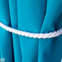 "1 Large Luxury Handmade White Window Treatment Hardware Home Decor Curtain Tie Drapery Cord/Rope 36"" Long/ 1/2"" Thick Tieback Drape Holdback"