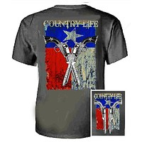 Country Life Outfitters Texas  Flag Guns Vintage Unisex Gray Bright T Shirt