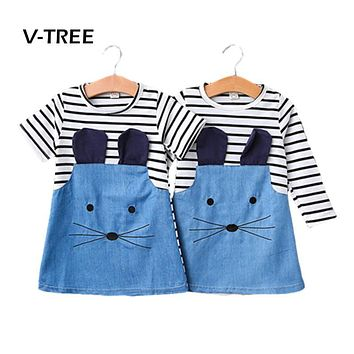 V-TREE Baby Girls Dress New Spring Summer Striped Dress For Girl Kids Jeans Demain Dress Children Baby Clothes