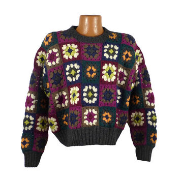 Granny Squares Sweater Vintage 1990s Wool Brass Plum Women's