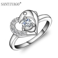 Silver Plated Simple Carve Heart Shape Wedding Band Stackable Promise Ring for Her Miami Dolphin Ring Women