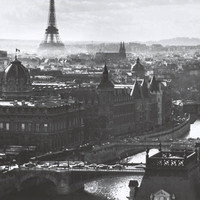 Paris Eiffel Tower Seine River Poster 24x36