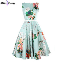 Audrey Hepburn 50s 60s Vintage Women Summer Peony Printed Dresses 2016 Style Retro Robe Rockabilly Swing Party Dresses MISSDRESS