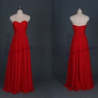 Latest long red chiffon bridesmaid dresses hot,simple women gowns for wedding party,cheap evening prom dress on sale.