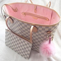 LV tide brand high quality female classic old flower checkerboard shopping bag two-piece white check