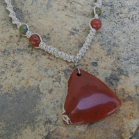 Red River Jasper, Hemp Necklace, Fall Accessory, Trillion, Beautiful, Gemstones, Gift for Her, Hemp Jewelry, Handmade Necklace, Fall Colors