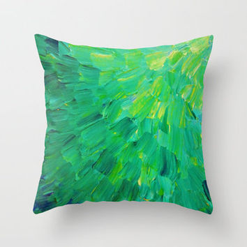 SEA SCALES in GREEN - Bright Green Ocean Waves Beach Mermaid Fins Scales Abstract Acrylic Painting Throw Pillow by EbiEmporium | Society6