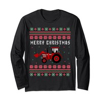 Red Tractor Ugly Christmas Long Sleeve T-shirt