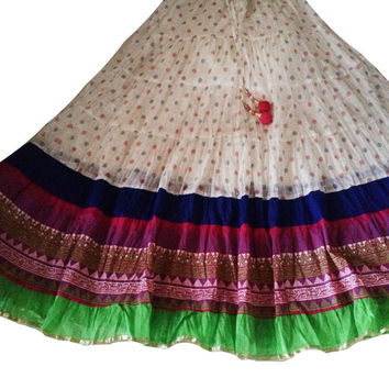 Skirts-white printed Party skirt-long skirt-belly dance-Border skirt-thanksgiving-Bollywood Skirt-border skirt-Dance skirt-Festival
