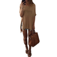 Women's Tan Casual Flowy Side Slit Short Sleeve T-Shirt Top