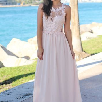Blush Maxi Dress with Lace Top