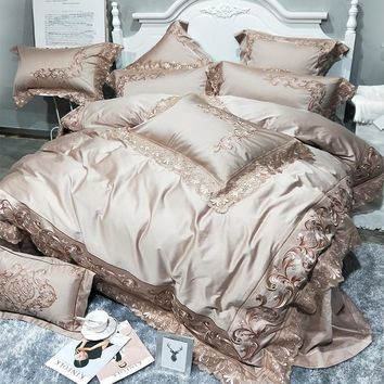 Golden pink 100S Egyptian cotton luxury royal bedding set king queen size duvet cover Embroidery bedlinen bed sheets linen set