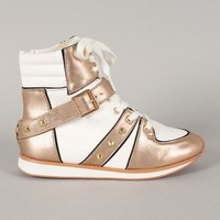 Qupid Pippa-09 Studded Metallic Lace Up Sneaker