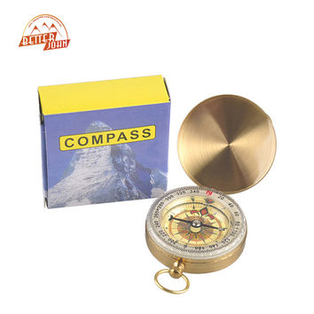 Outdoor Sports Camping Hiking Portable Brass Pocket Golden Multifunction Fluorescence Compass Navigation