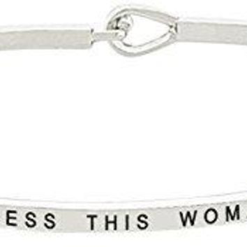 Mothers Day Gift BLESS THIS WOMAN Positive Message Thin Bangle Hook Bracelet  Religious Jewelry Gifts for Women and Teen Girls