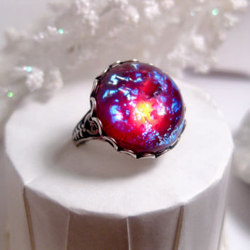 Round Dragon's Breath Opal Ring by FashionCrashJewelry on Etsy