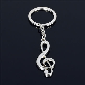 2017 Hot sale New key chain key ring silver plated musical note keychain for car metal music symbol key chains