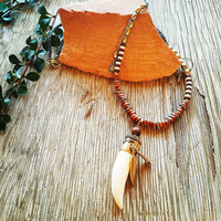 Feather & Horn Pendant Necklace