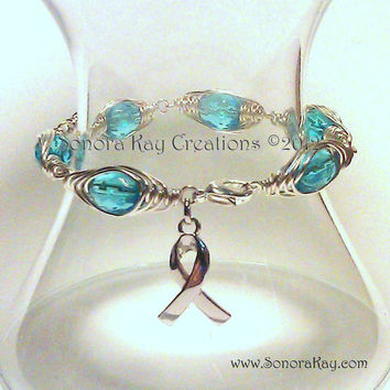 Blue Wire Wrapped Awareness Bracelet