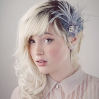 Antoinette Dusty Gray Feather Hair Clip Fascinator