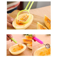 Creative Kitchen Fruits Cutter Peeler Melon Baller Spoon Fancy Dig Pulp Tools 2-in-1