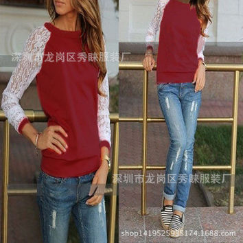 Women's Trending Popular Fashion Lace Loose Long Long Sleeve Round Necked _ 8881