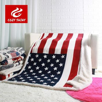 double layer thick USA US UK ENGLAND BRITISH flag fleece sherpa plush faux fur tv sofa gift blanket throw blankets 130x160cm