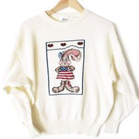 Vintage 80s American Rabbit Tacky Ugly Sweater Women's Size Large (L) $12 - The Ugly Sweater Shop