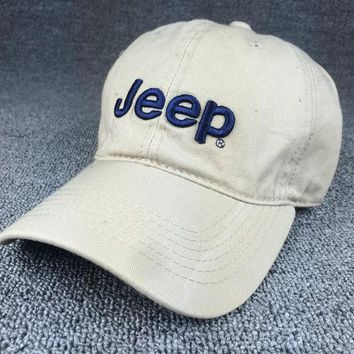 PEAPDQ7 Beige Color Jeep Embroidered Baseball Cap Hat