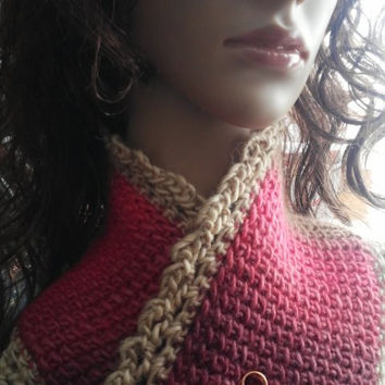 Scarf Neck Warmer Pink, Beige, Taupe, Plum Tunisian Crochet Soy Wool READY TO SHIP