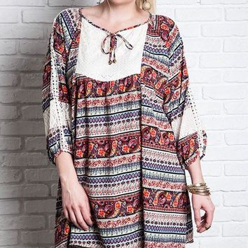 Plus Size Printed 3/4 Sleeve Peasant Dress - Red Multi