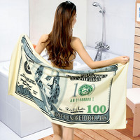 150*70 Absorbent Microfiber Drying Bath Beach Towel Washcloth Swimwear Shower 100 Dollor Pattern