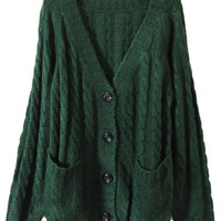 ROMWE | Chunky Cable Knit Blackish Green Cardigan, The Latest Street Fashion