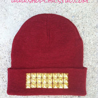 Studded Beanie Hat Burgundy Red - CHOOSE - Gold OR Silver OR Black Studs