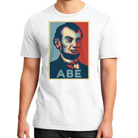 """ABE Lincoln ""Hope"" Design"" District T-Shirt (on man)"