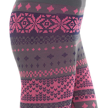Women's Regular Fair Isle Fleece Leggings
