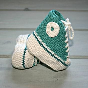Bamboo| baby| crochet| converse| style| booties| 1m-3m+| high tops| shoes| boots| deep