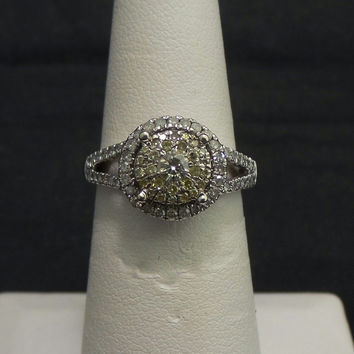 Solid 10K White Gold .50ctw Yellow & White Diamond Engagement Ring - Size 6