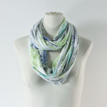 SKINNY SCARF - Floral Infinity Scarf - Petite Scarf - Stretchy Jersey Knit