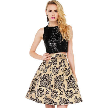 Casual Floral Printed Midi Skirt