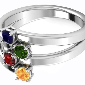 14K White Gold Ring 4 color stones Sapphire Tsavorite Ruby Yellow Sapphire Birthstone Ring Contemporary Ring