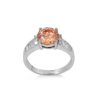 Round Champagne Cubic Zirconia Ring Sterling Silver 925