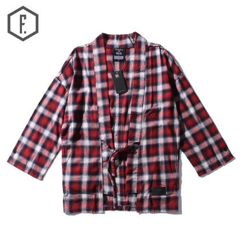 Men's Fashion Winter Plaid Three-quarter Sleeve Gowns Shirt [8822209027]