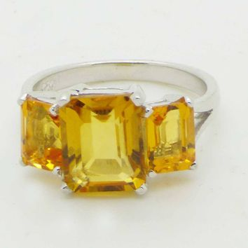 Yellow Octagon Citrine 14k White gold over Sterling Silver Ring, Size 7