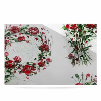 """Maria Bazarova """"FLoral Monogram P"""" Red Green Floral Nature Painting Digital Luxe Rectangle Panel"""