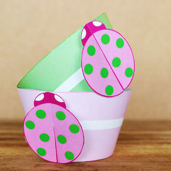 Printable 3D Ladybug Party Cupcake Wrapper Set in mint green and pastel pink – great for little girl birthdays - INSTANT DOWNLOAD