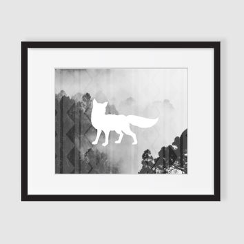 Fox Art, Black and White Photography, Modern Wall Art